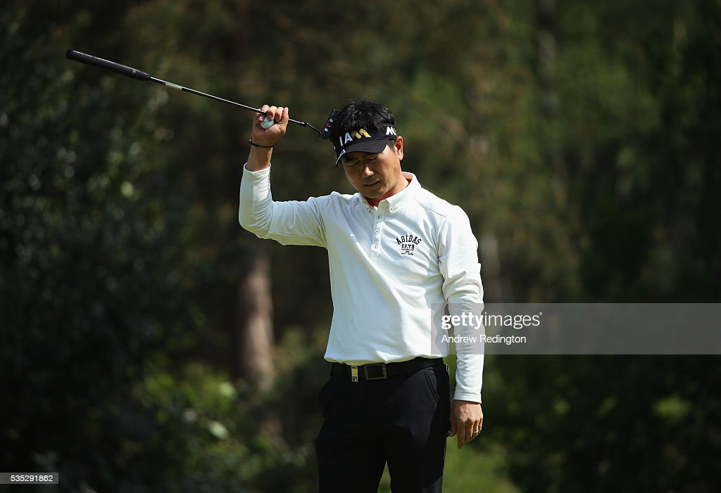 Yang of Korea reacts on the 12th green during day four of the BMW PGA Championship at Wentworth on May 29, 2016 in Virginia Water, England.