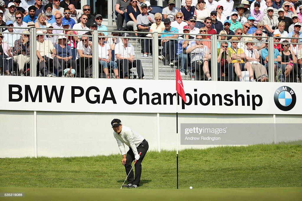 Yang of Korea reacts on the 14th green during day four of the BMW PGA Championship at Wentworth on May 29, 2016 in Virginia Water, England.