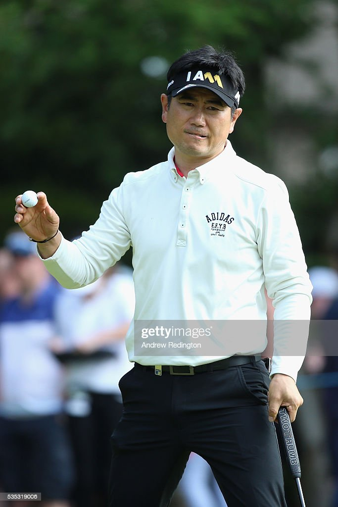 Yang of Korea reacts on the 15th green during day four of the BMW PGA Championship at Wentworth on May 29, 2016 in Virginia Water, England.