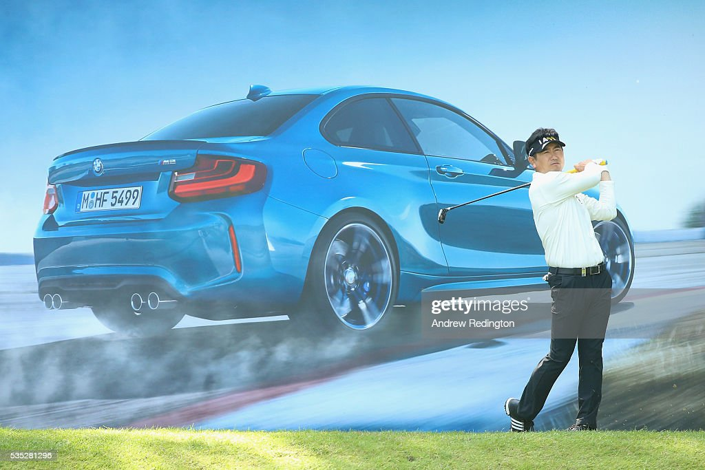 Yang of Korea tees off on the 10th hole during day four of the BMW PGA Championship at Wentworth on May 29, 2016 in Virginia Water, England.