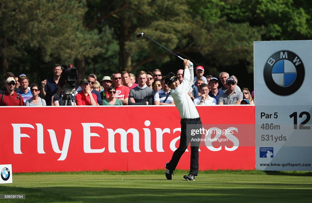 Yang of Korea tees off on the 12th hole during day four of the BMW PGA Championship at Wentworth on May 29, 2016 in Virginia Water, England.