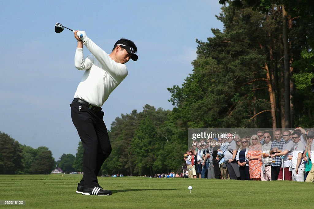 Yang of Korea tees off on the 15th hole during day four of the BMW PGA Championship at Wentworth on May 29, 2016 in Virginia Water, England.