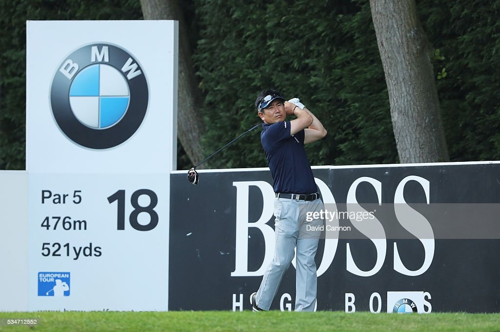 Yang of Korea tees off on the 18th hole during day two of the BMW PGA Championship at Wentworth on May 27, 2016 in Virginia Water, England.
