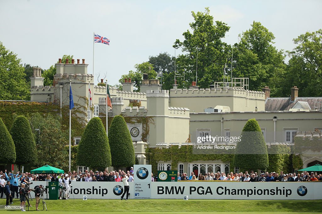 Yang of Korea tees off on the 1st hole during day four of the BMW PGA Championship at Wentworth on May 29, 2016 in Virginia Water, England.