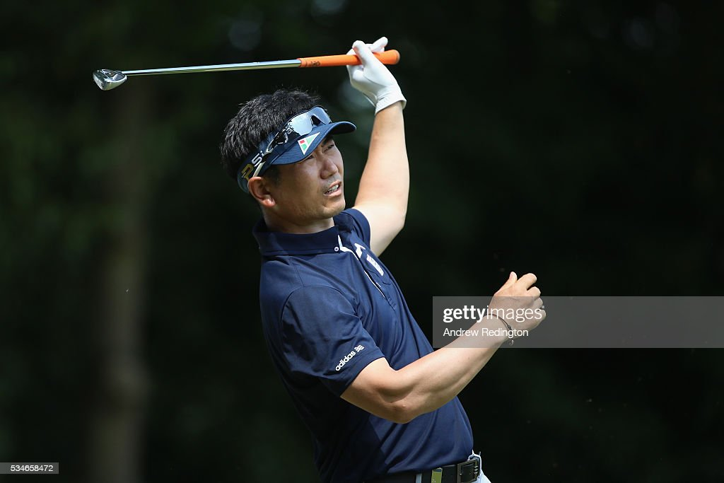 Yang of Korea tees off on the 2nd hole during day two of the BMW PGA Championship at Wentworth on May 27, 2016 in Virginia Water, England.