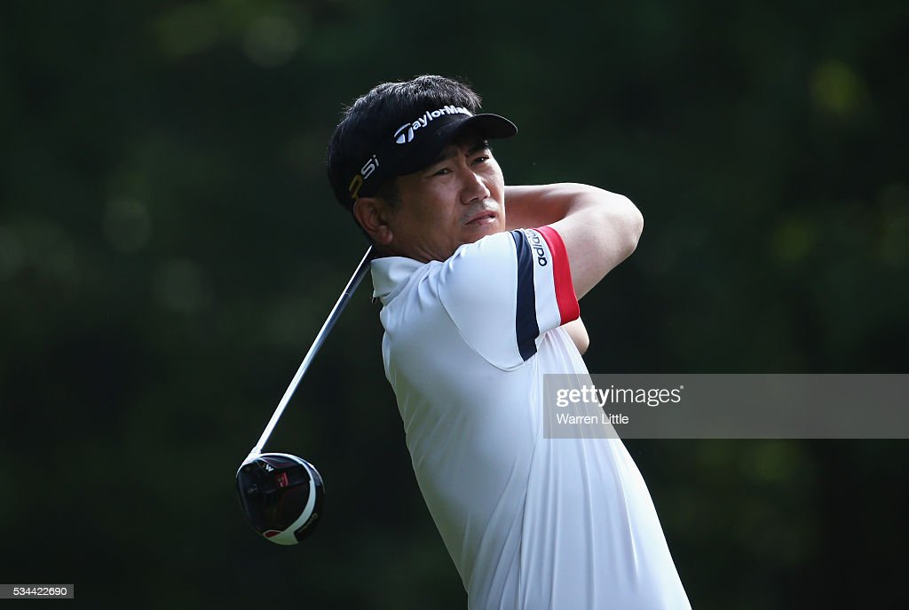 Yang of Korea tees off on the 3rd hole during day one of the BMW PGA Championship at Wentworth on May 26, 2016 in Virginia Water, England.