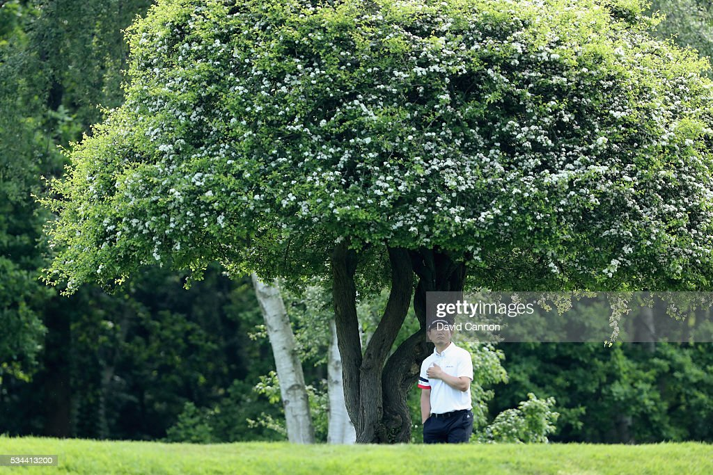 Yang of Korea waits on the 9th hole during day one of the BMW PGA Championship at Wentworth on May 26, 2016 in Virginia Water, England.