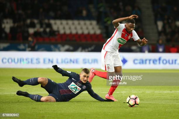 Yhoan Andzouana of Monaco and Marco Verratti of PSG in action during the French Cup semifinal match between Paris SaintGermain and AS Monaco at Parc...