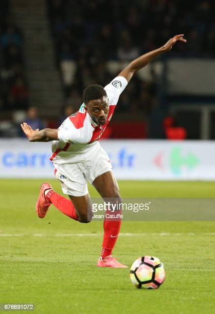 Yhoan Andzouana of Monaco in action during the French Cup semifinal match between Paris SaintGermain and AS Monaco at Parc des Princes stadium on...