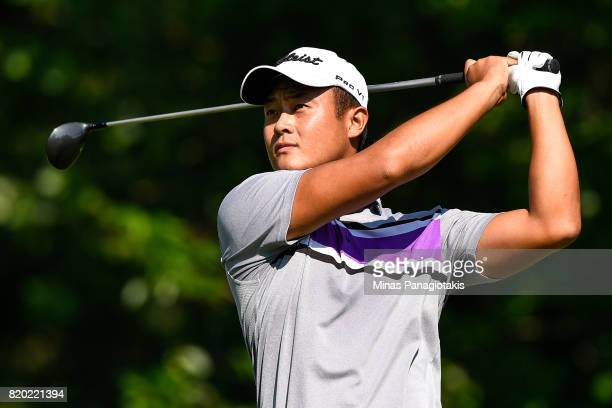 Yi Cao of Canada hits his tee from the second hole during round two of the Mackenzie Investments Open held at Club de Golf Les Quatre Domaines on...
