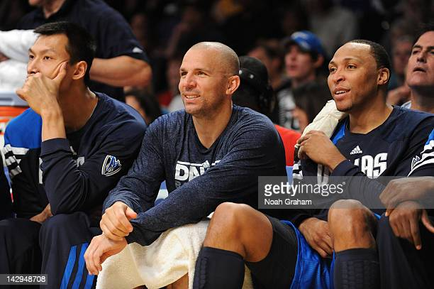 Yi Jianlian Jason Kidd and Shawn Marion of the Dallas Mavericks look on from the bench against the Los Angeles Lakers at Staples Center on April 15...