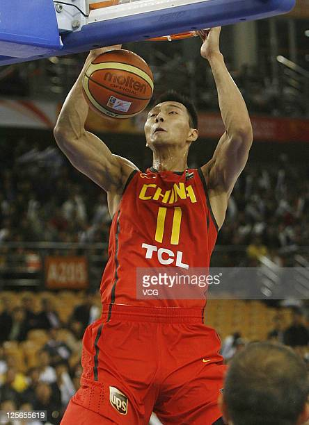 Yi Jianlian of China in action in the match between China and Syria during the FIBA Asia Championship at Wuhan Sports Center on September 19 2011 in...