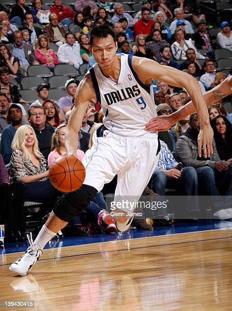 Yi Jianlian of the Dallas Mavericks drives against the Boston Celtics on February 20 2012 at the American Airlines Center in Dallas Texas NOTE TO...