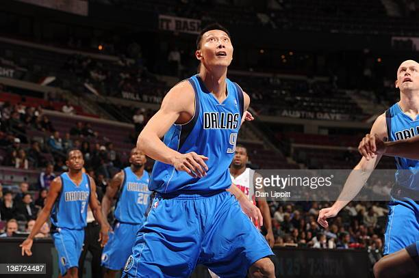 Yi Jianlian of the Dallas Mavericks looks at the basket during the fourth quarter against the Detroit Pistons on January 10 2012 at The Palace of...