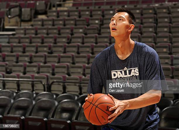 Yi Jianlian of the Dallas Mavericks looks to take a shot during practice prior to the game against the Detroit Pistons on January 10 2012 at The...