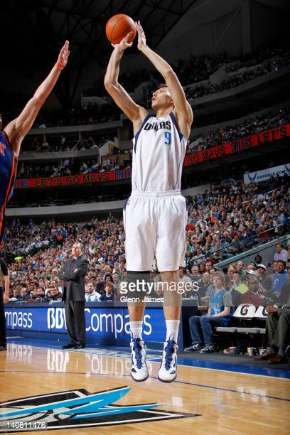 Yi Jianlian of the Dallas Mavericks shoots a jumper against the New York Knicks on March 6 2012 at the American Airlines Center in Dallas Texas NOTE...
