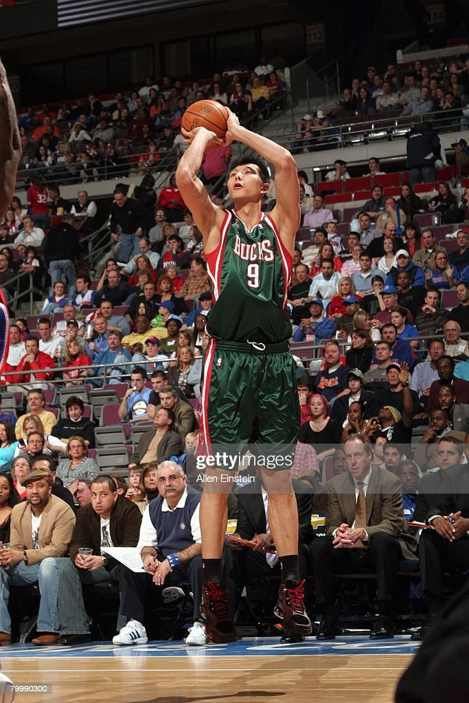 Yi Jianlian of the Milwaukee Bucks shoots a jump shot during the game against the Detroit Pistons at the Palace of Auburn Hills on February 22 2008...