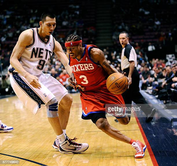 Yi Jianlian of the New Jersey Nets guards Allen Iverson of the Philadelphia 76ers in the second half at East Rutherford NJ January 31 2010
