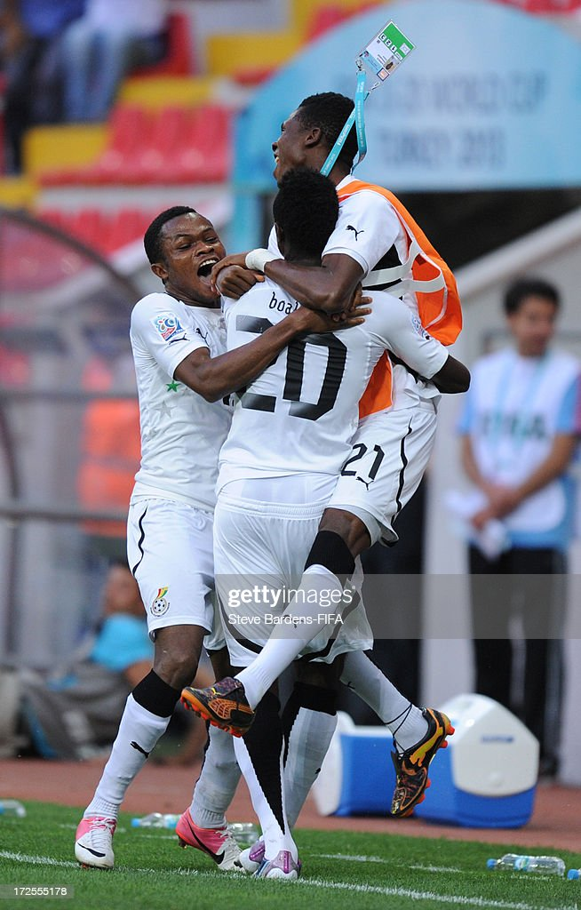 Yiadom Boakye of Ghana (2nd R) celebrates scoring a goal to make the score 2-3 with his team mates during the FIFA U20 World Cup Round of 16 match between Portugal and Ghana at Kadir Has Stadium on July 3, 2013 in Kayseri, Turkey.