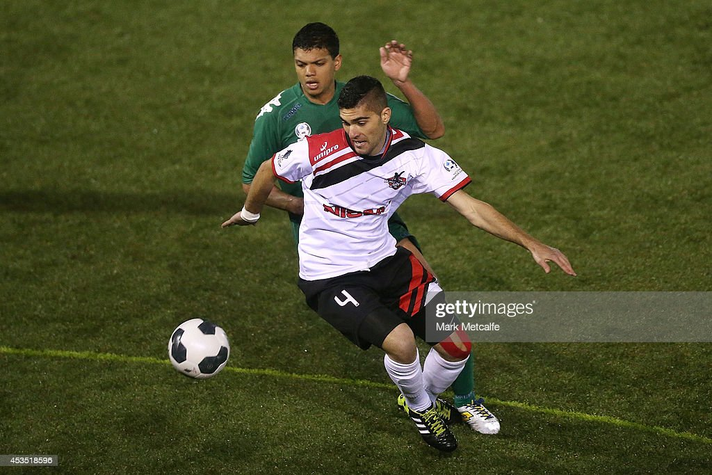 Yianni Fragogianni of Blacktown City controls the ball during the FFA Cup match between Blacktown City and Bentleigh Greens at Lilys Football Centre on August 12, 2014 in Blacktown, Australia.