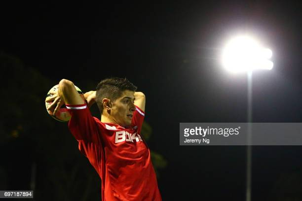 Yianni Perkatis of United 58 throws the ball during the NSW NPL Men's match between Sutherland Sharks FC and Sydney United 58 on June 17 2017 in...