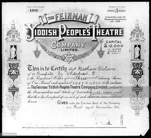Yiddish People's Theatre share certificate 1 November 1911 Share certificate issued by the Feinmann Yiddish People's Theatre Company Ltd for three £1...