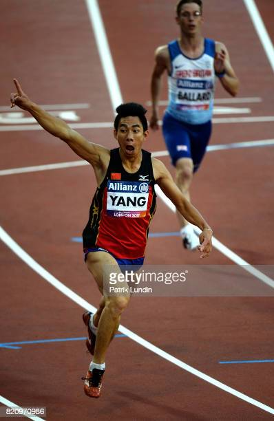 Yifei Yang of China celebrates after winning gold in the final of the men's 100m T36 on day nine of the IPC World ParaAthletics Championships 2017 at...