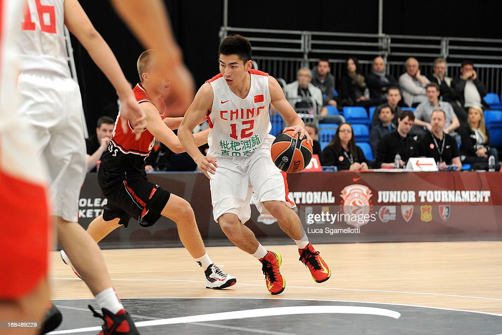 Yifeng Heng, #12 of Team China in action during the Nike International Junior Tournament game between Lietuvos Rytas Vilnius v Team China at London Soccerdome on May 10, 2013 in London, United Kingdom.
