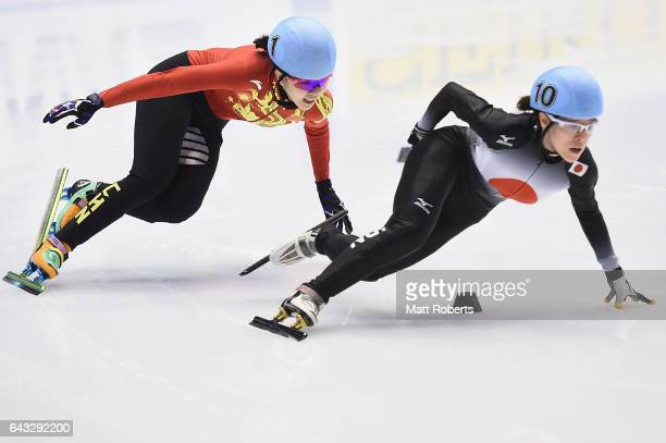 Yihan Guo of China and Kikuchi Sumire of Japan compete in the Women's 500 metre Short Track Speed Skating on day four of the 2017 Sapporo Asian...