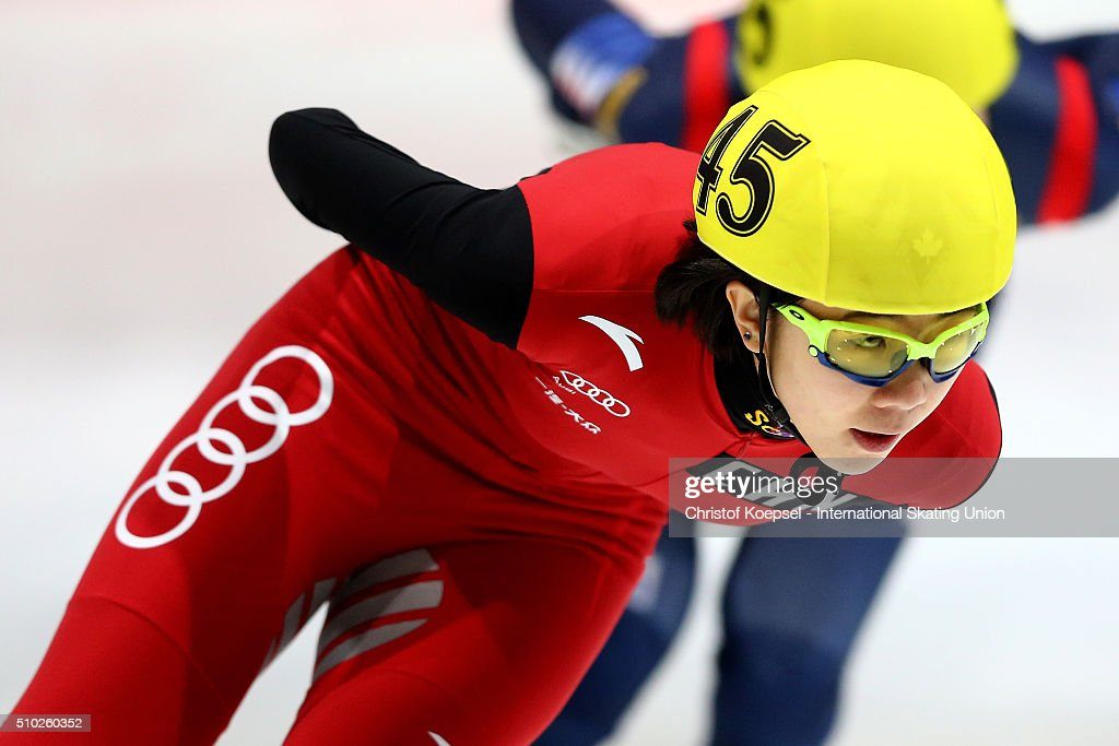 Yihan Guo of China skates during ladies 1000m semifinal second race heat two during Day 3 of ISU Short Track World Cup at Sportboulevard on February 14, 2016 in Dordrecht, Netherlands.