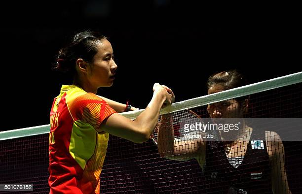 Yihan Wang of China shakes hands with Ratchanok Intanon of Thailand after the semi final of the Women's Singles match during day four of the BWF...
