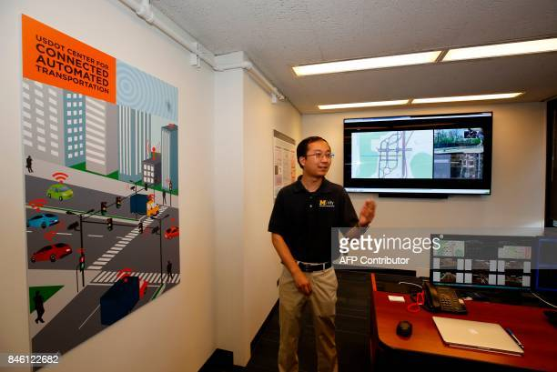 Yihend Feng PhD speaks in the Augmented Reality Control center at the Mcity Test Facility on September 12 2017 in Ann Arbor Michigan The...