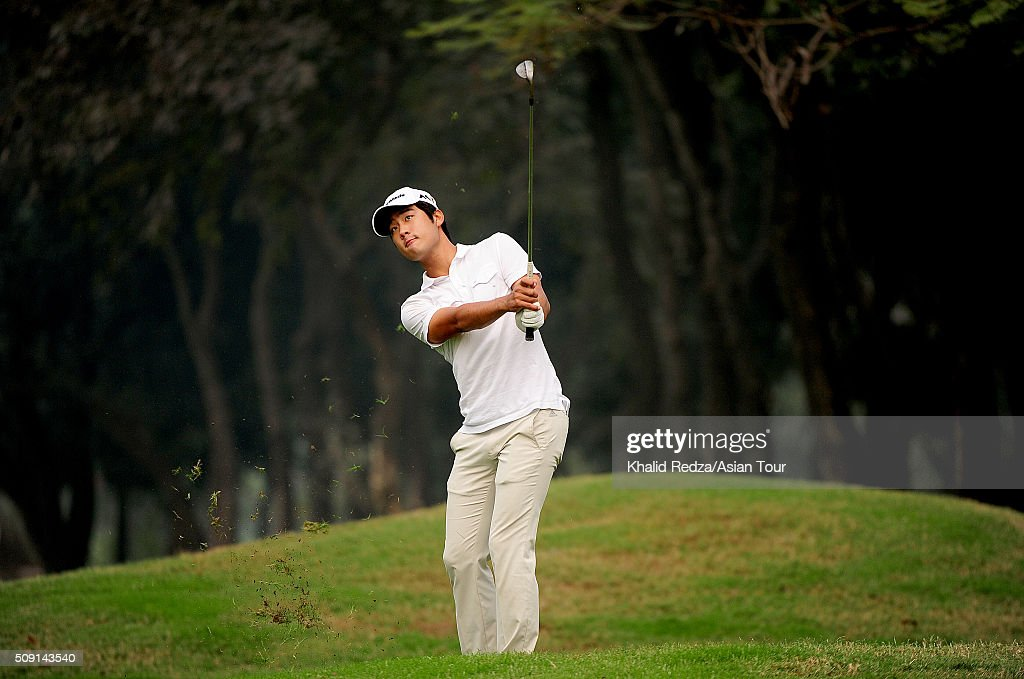 Yikeun Chang of Korea plays a shot during practice ahead of the Bashundhara Bangladesh Open at Kurmitola Golf Club on February 9, 2016 in Dhaka, Bangladesh.
