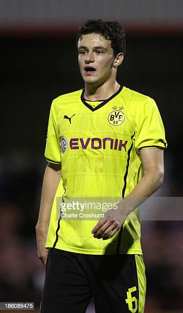 Yildiz Cihan of Borussia Dortmund during the UEFA Youth League match between Arsenal U19 and Borussia Dortmund U19 at Meadow Park on October 23 2013...