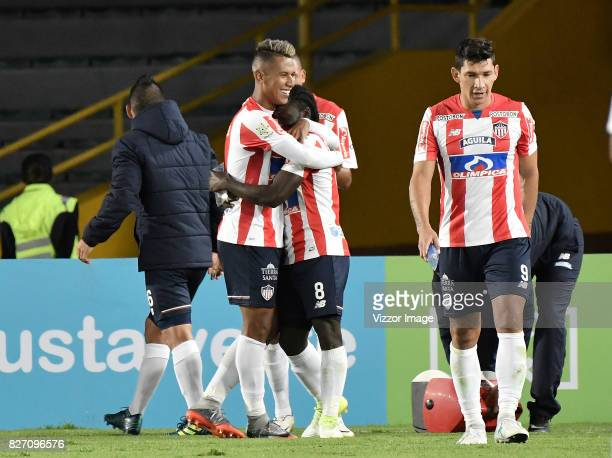 Yimmi Chara of Atletico Junior celebrates with teammates after scoring the second goal of his team during a match between Millonarios and Atletico...