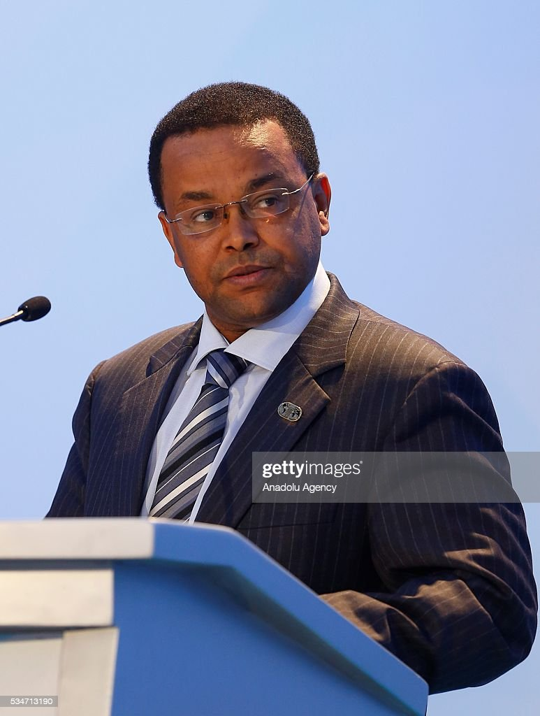 Yinager Dessie Belay, member of the National Planning Commission of Ethiopia, speaks at the opening session during the Midterm Review of the Istanbul Programme of Action at Titanic Hotel in Antalya, Turkey on May 27, 2016. The Midterm Review conference for the Istanbul Programme of Action for the Least Developed Countries takes place in Antalya, Turkey from 27-29 May 2016.