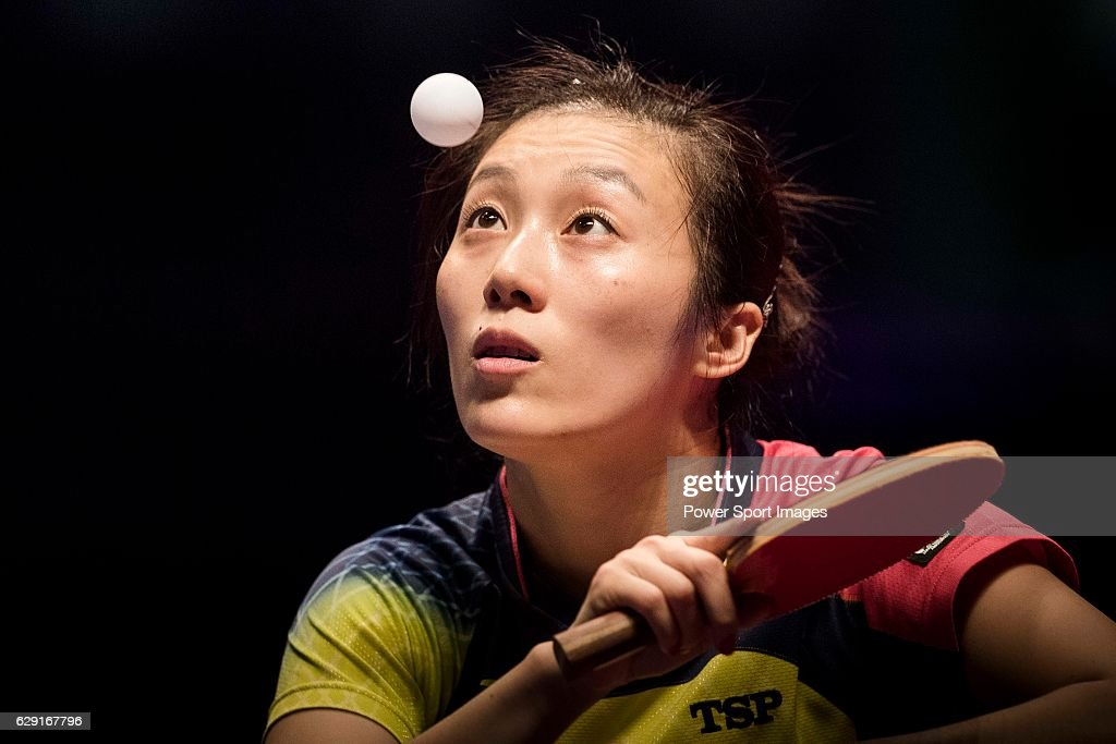 Ying Hang of Germany in action against Zhu Yuling of China during their Women's Singles Final match during the Seamaster Qatar 2016 ITTF World Tour Grand Finals at the Ali Bin Hamad Al Attiya Arena on 11 December 2016, in Doha, Qatar.