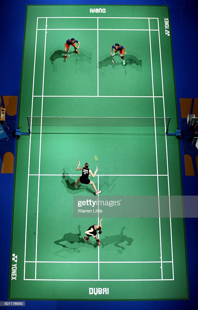 Ying Luo and Yu Luo of China in action against <a gi-track='captionPersonalityLinkClicked' href=/galleries/search?phrase=Christinna+Pedersen&family=editorial&specificpeople=5933396 ng-click='$event.stopPropagation()'>Christinna Pedersen</a> and <a gi-track='captionPersonalityLinkClicked' href=/galleries/search?phrase=Kamilla+Rytter+Juhl&family=editorial&specificpeople=210999 ng-click='$event.stopPropagation()'>Kamilla Rytter Juhl</a> of Dnemark during the final of the Women's Doubles match on day five of the BWF Dubai World Superseries 2015 Finals at the Hamdan Sports Complex on December 13, 2015 in Dubai, United Arab Emirates.