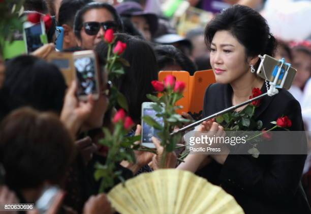 Yingluck Shinawatra the former Prime Minister of Thailand attended the last match of witness inquisition on the rice pledge case Thousands of people...