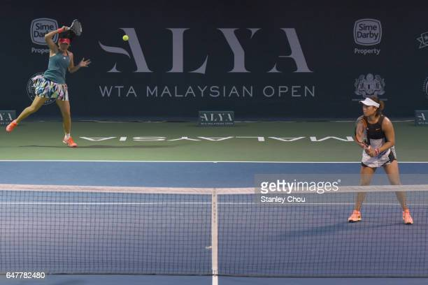 YingYing Duan and Xinyun Han of China in action in the doubles during the Semi Finals of the 2017 WTA Malaysian Open at the TPC on March 4 2017 in...
