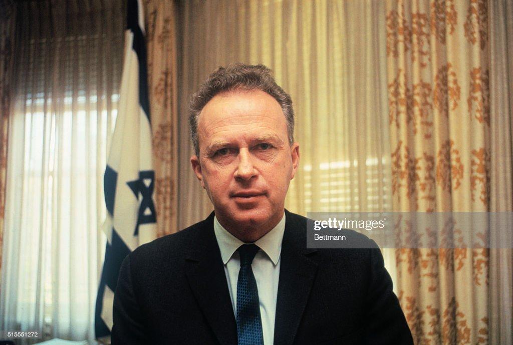 Yitzhak Rabin, Israeli Ambassador to the United States, sitting at his desk in the Israeli Embassy in Washington, D.C.