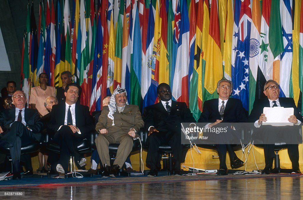 <a gi-track='captionPersonalityLinkClicked' href=/galleries/search?phrase=Yitzhak+Rabin&family=editorial&specificpeople=94269 ng-click='$event.stopPropagation()'>Yitzhak Rabin</a>, <a gi-track='captionPersonalityLinkClicked' href=/galleries/search?phrase=Shimon+Peres&family=editorial&specificpeople=201775 ng-click='$event.stopPropagation()'>Shimon Peres</a>, and <a gi-track='captionPersonalityLinkClicked' href=/galleries/search?phrase=Yasser+Arafat+-+Political+Figure&family=editorial&specificpeople=118625 ng-click='$event.stopPropagation()'>Yasser Arafat</a> receive the Felix Houphouet-Boigny Award for peace resolution, in the presence of <a gi-track='captionPersonalityLinkClicked' href=/galleries/search?phrase=Henry+Kissinger&family=editorial&specificpeople=154883 ng-click='$event.stopPropagation()'>Henry Kissinger</a> and Federico Mayor. From left are: Rabin, Mayor, Arafat, <a gi-track='captionPersonalityLinkClicked' href=/galleries/search?phrase=Henri+Konan+Bedie&family=editorial&specificpeople=697544 ng-click='$event.stopPropagation()'>Henri Konan Bedie</a>, Peres, and Kissinger.