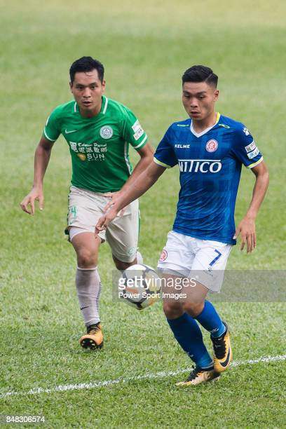 Yiu Kwok of Rangers of Rangers in action against Kwun Chung Leung of Wofoo Tai Po during the week three Premier League match between BC Rangers and...