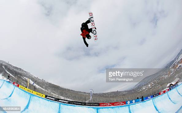 Yiwei Zhang of China competes during the FIS Snowboard World Cup 2015 Men's Snowboard Halfpipe Final during the US Grand Prix at Park City Mountain...