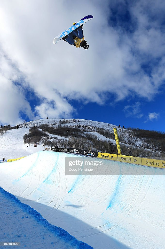 Yiwei Zhang of China does a backside air above the halfpipe during the FIS Snowboard Halfpipe World Cup at the Sprint U.S. Grand Prix at Park City Mountain on February 1, 2013 in Park City, Utah. Zhang earned the award for the highest aerial in the finals.
