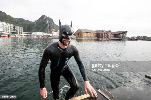 Yngve Rogstadkjaernet testing the water before The Arctic Triple // Lofoten Triathlon Olympic distance on August 18 2017 in Svolvar Norway Lofoten...