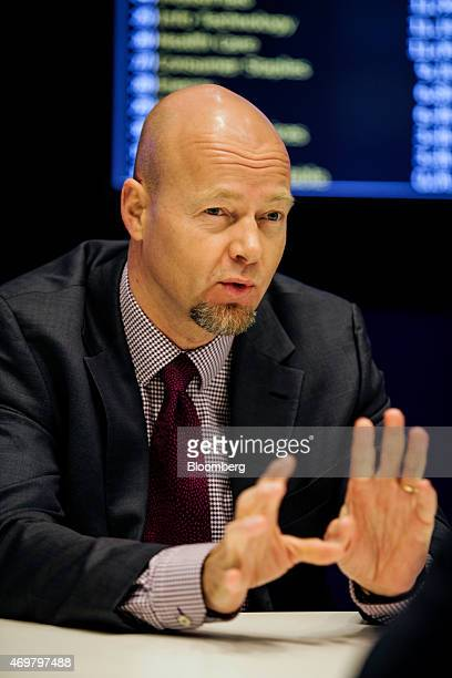 Yngve Slyngstad chief executive officer of Norges Bank Investment Management speaks during an interview in New York US on Wednesday April 15 2015...