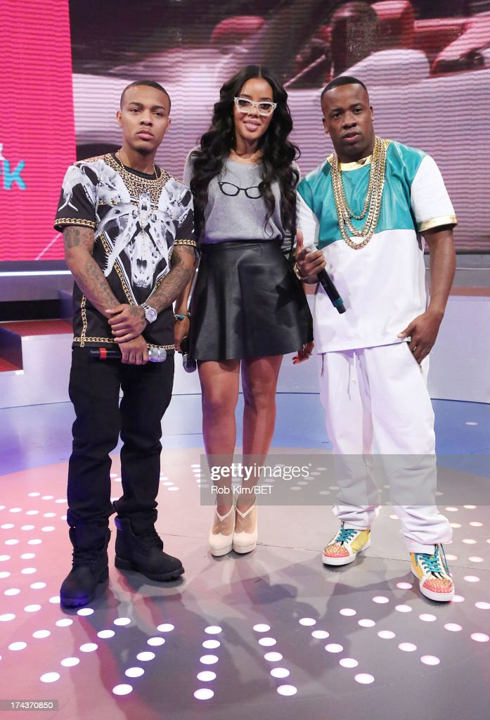 Yo Gotti (R) and hosts <a gi-track='captionPersonalityLinkClicked' href=/galleries/search?phrase=Bow+Wow+-+Rapper&family=editorial&specificpeople=211211 ng-click='$event.stopPropagation()'>Bow Wow</a> and <a gi-track='captionPersonalityLinkClicked' href=/galleries/search?phrase=Angela+Simmons&family=editorial&specificpeople=653461 ng-click='$event.stopPropagation()'>Angela Simmons</a> at BET's 106 and Park at BET Studios on July 24, 2013 in New York City.