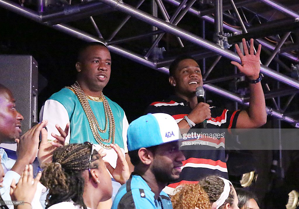 Yo Gotti (L) and <a gi-track='captionPersonalityLinkClicked' href=/galleries/search?phrase=Pooch+Hall&family=editorial&specificpeople=879951 ng-click='$event.stopPropagation()'>Pooch Hall</a> visit BET's 106 and Park at BET Studios on July 24, 2013 in New York City.