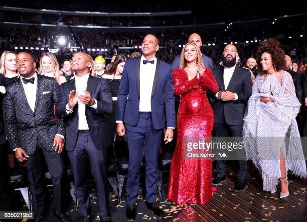 Yo Gotti Guest JayZ Beyonce Alan Ferguson and Solange Knowles during The 59th GRAMMY Awards at STAPLES Center on February 12 2017 in Los Angeles...